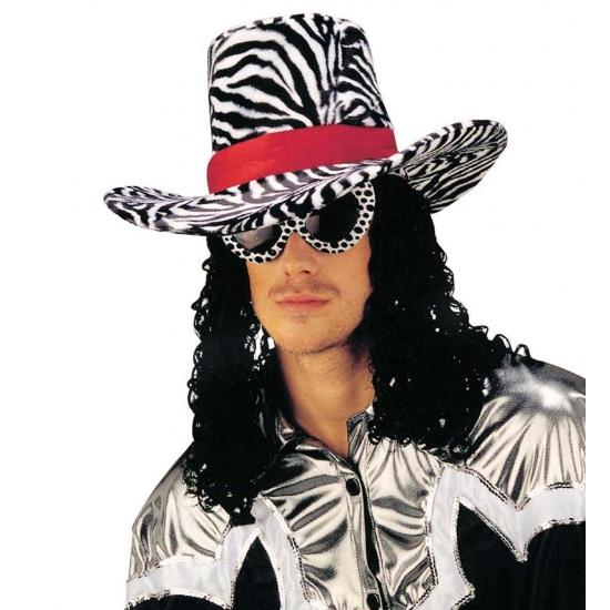 Funky Cowboy Hoed Met Zebra Print Geboorte feestwinkel kopen