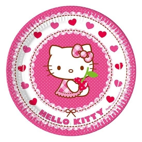 16x Hello Kitty themafeest bordjes 23 cm