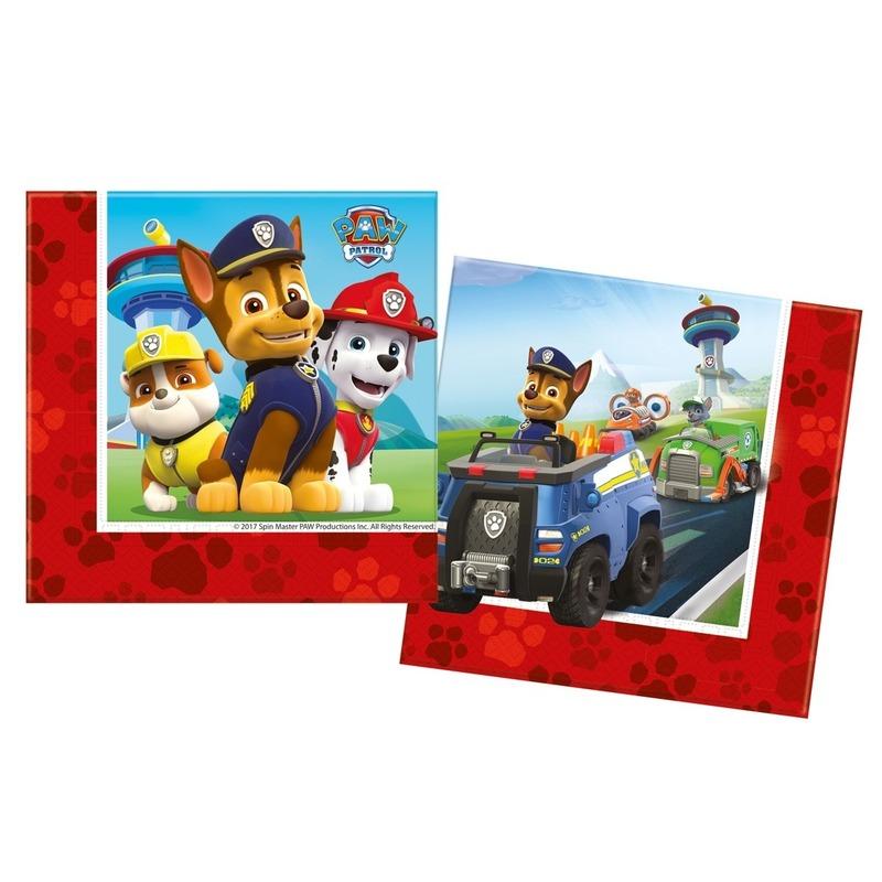 20x Paw Patrol themafeest servetten 33 x 33 cm papier
