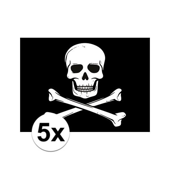 5x Piraten speelgoed stickers 7.5 x 10 cm