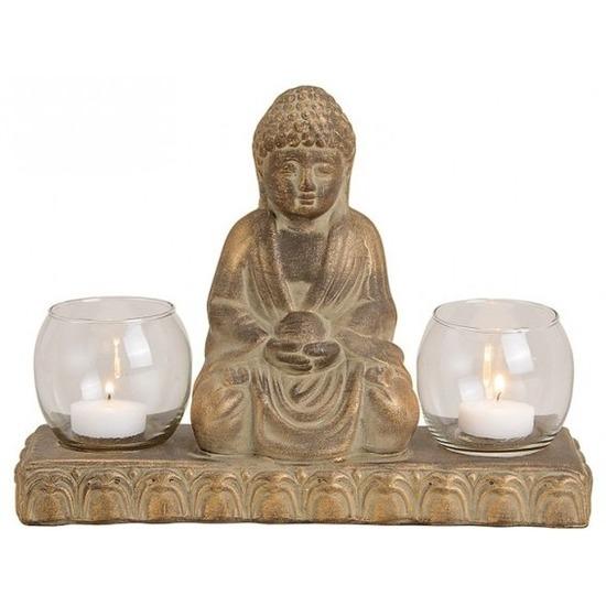 Bruin boeddha beeldje met 2 waxine-theelicht houders 21 cm