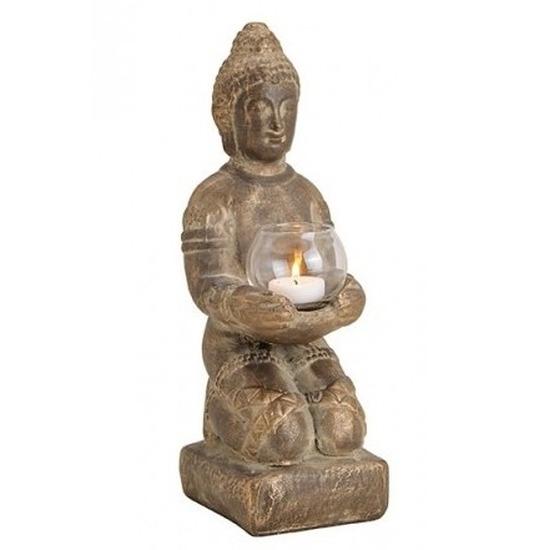Bruin boeddha beeldje met waxine-theelicht houder 33 cm