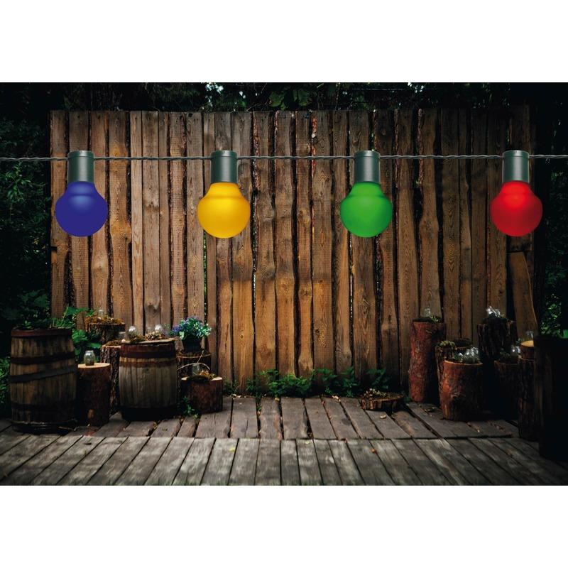 Buiten feestverlichting lichtsnoer gekleurde bolletjes 10 meter