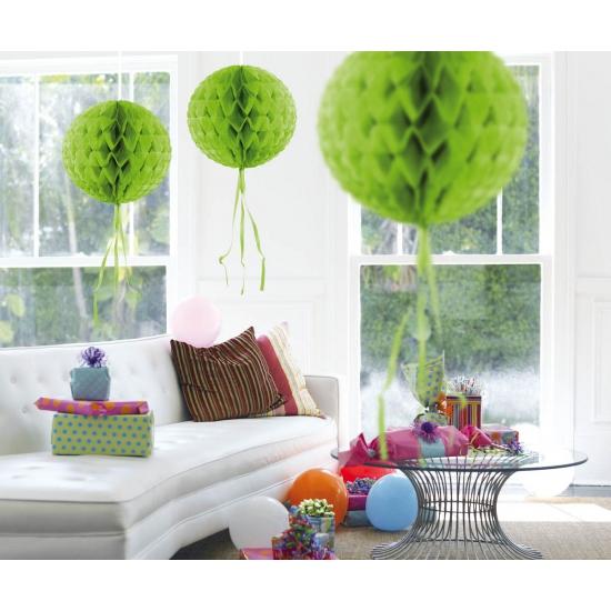 Decoratie bol lime groen 30 cm