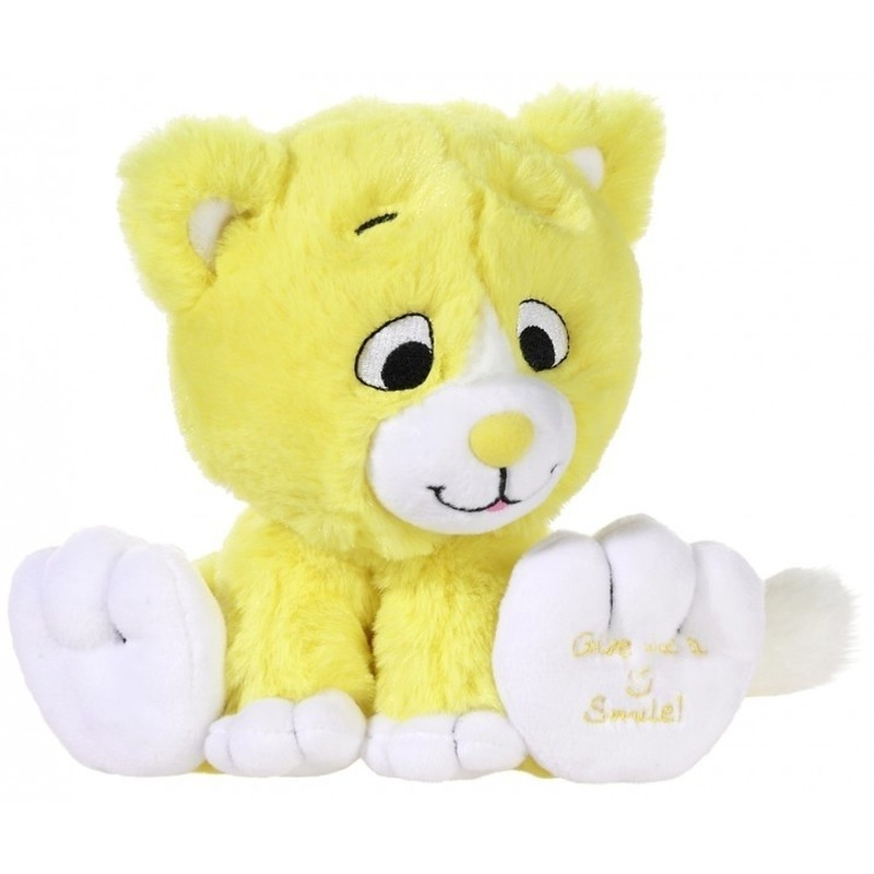 Gele knuffel kat-poes Give me a smile 14 cm