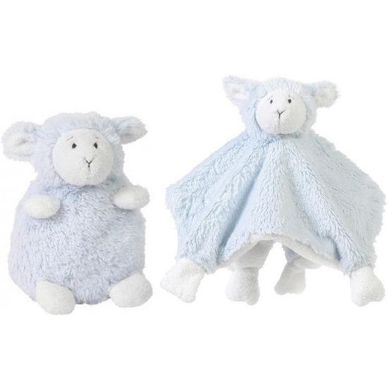 Happy Horse lammetje blauw knuffeldoekje en knuffel zittend