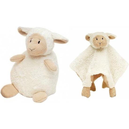 Happy Horse lammetje wit knuffeldoekje en knuffel zittend 26 cm