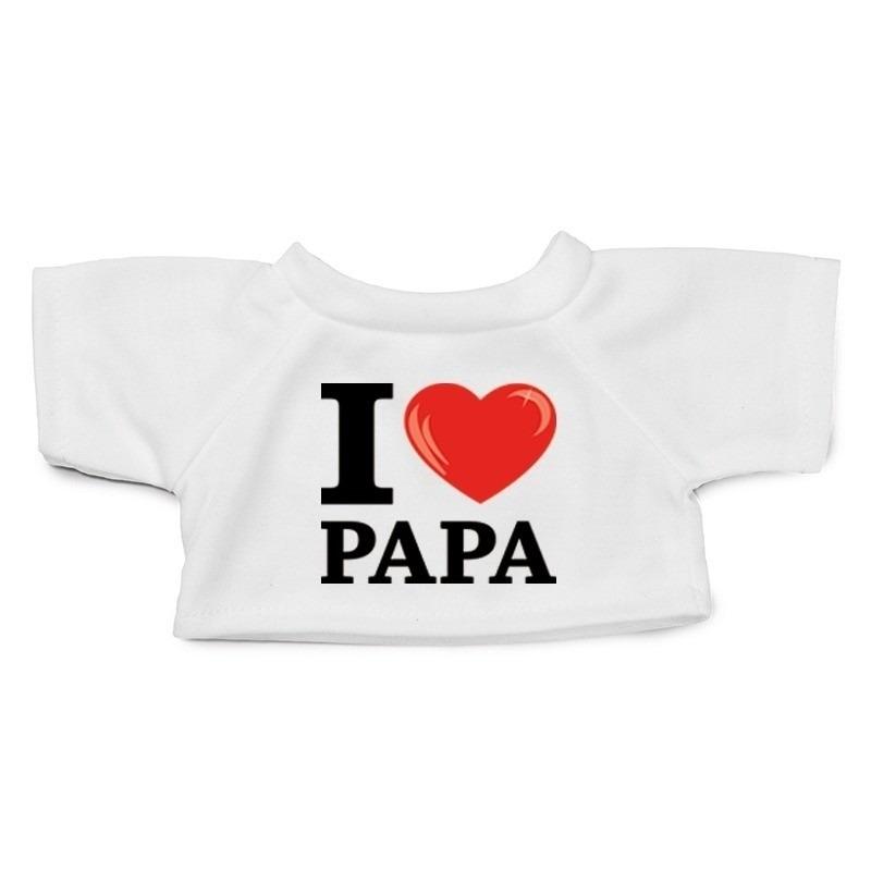 Knuffel kleding I love papa shirt wit XL voor Clothies knuffel