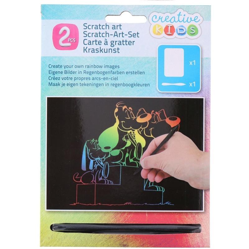 Kras tekening-krasfolie regenboog kleuren honden