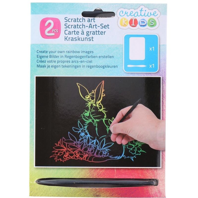 Kras tekening-krasfolie regenboog kleuren konijnen