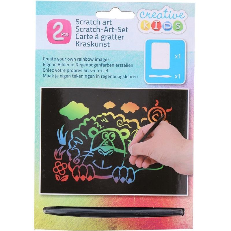Kras tekening-krasfolie regenboog kleuren leeuw