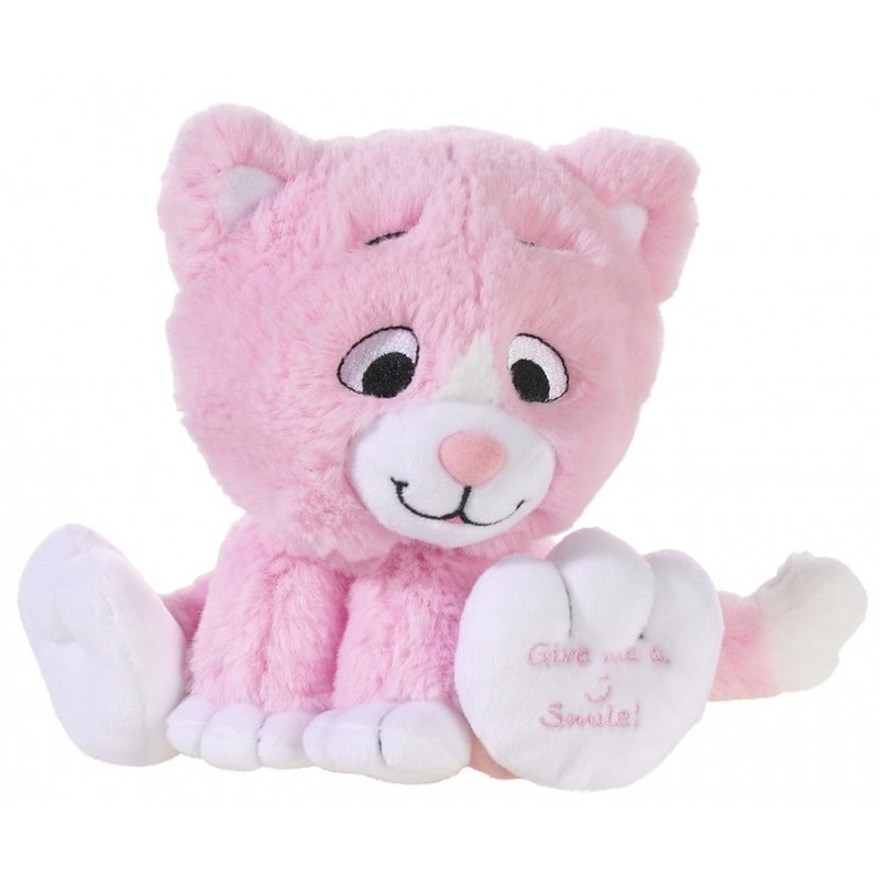 Lichtroze knuffel kat-poes Give me a smile 14 cm