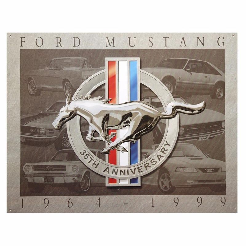 Geboorte-Feestwinkel, Metalen wandplaat Ford Mustang 32 x 41 cm