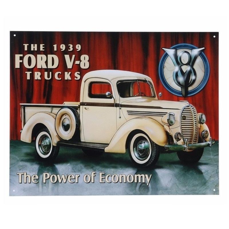 Geboorte-Feestwinkel, Metalen wandplaat Ford V-8 32 x 41 cm