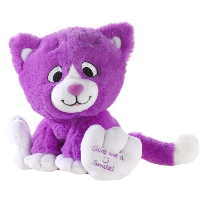 Paarse knuffel kat-poes Give me a smile 14 cm