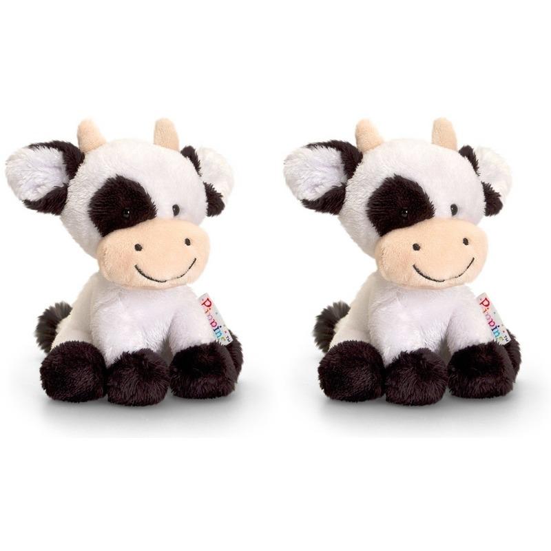Pluche koe-koeien knuffels zusjes Berta en Clara 14 cm