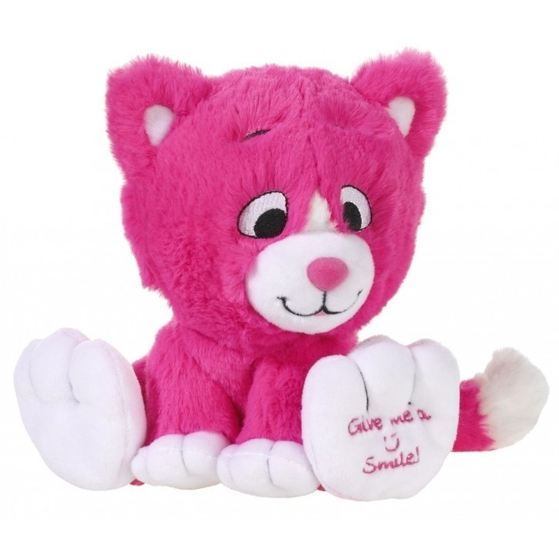 Roze knuffel kat-poes Give me a smile 14 cm