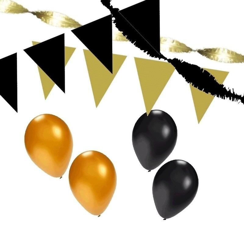 Zwart-Gouden feest versiering pakket huiskamer