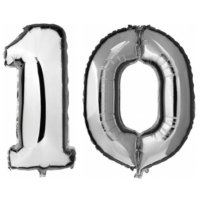 10 jaar zilveren folie ballonnen 88 cm leeftijd/cijfer