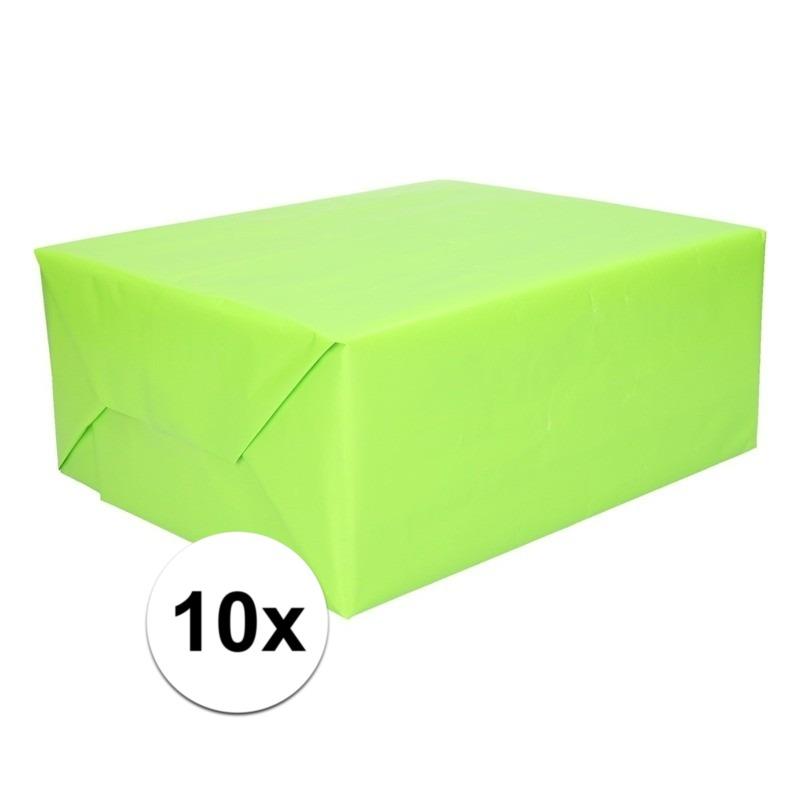 10 Rollen kadopapier lime groen 200 x 70 cm op rol