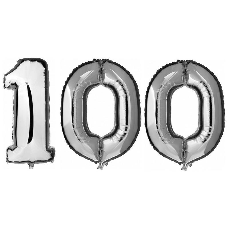 100 jaar zilveren folie ballonnen 88 cm leeftijd/cijfer