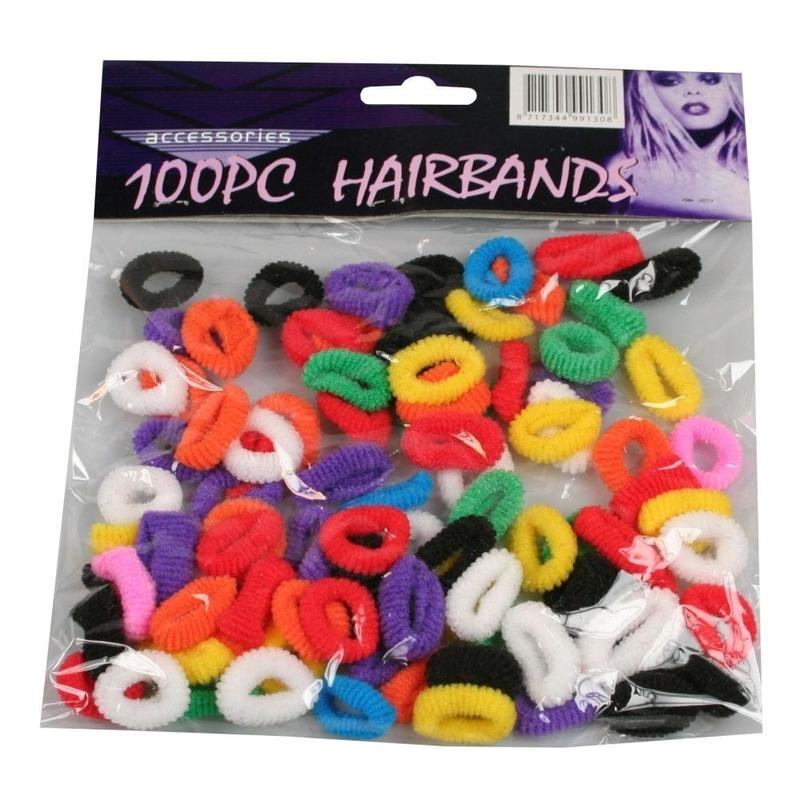 100x kleine haarelastiekjes in verschillende kleuren