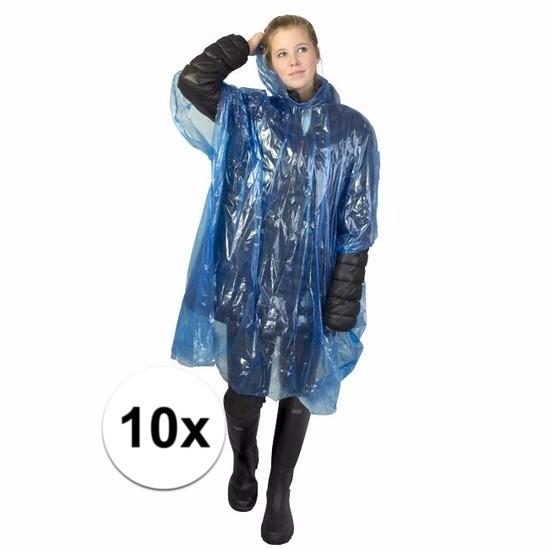 10x blauwe poncho met capuchon voor volwassenen