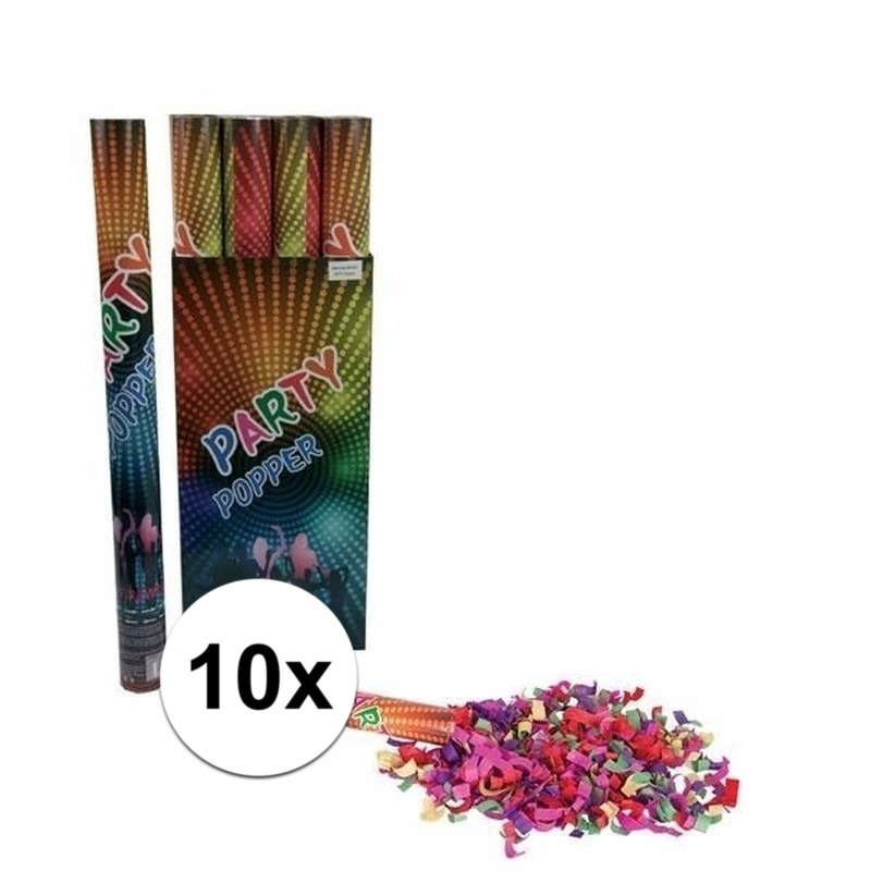 10x Confetti shooters multi-color 60 cm