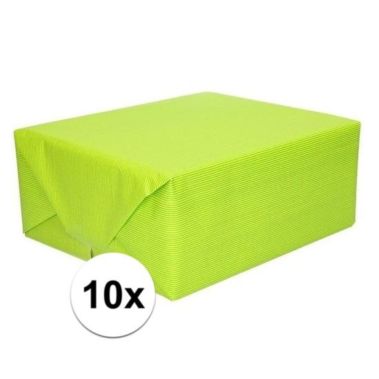 10x Inpakpapier/cadeaupapier lime groen kraftpapier 200 x 70 cm