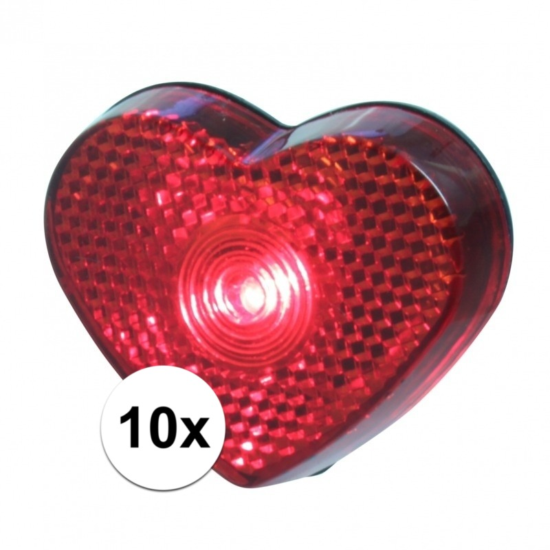 10x LED hartjes lampjes op clip 5 cm