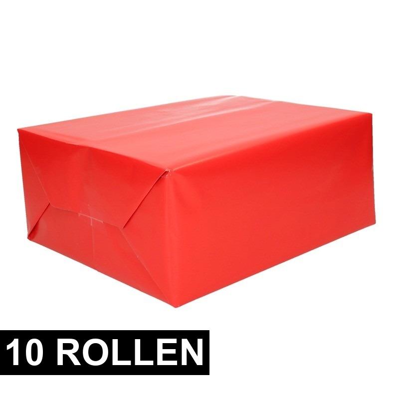 10x rollen Inpakpapier/cadeaupapier rood 200 x 70 cm op rol