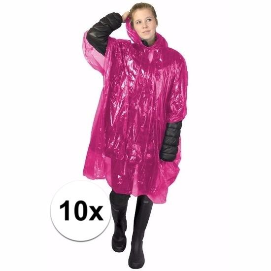10x roze poncho met capuchon voor volwassenen