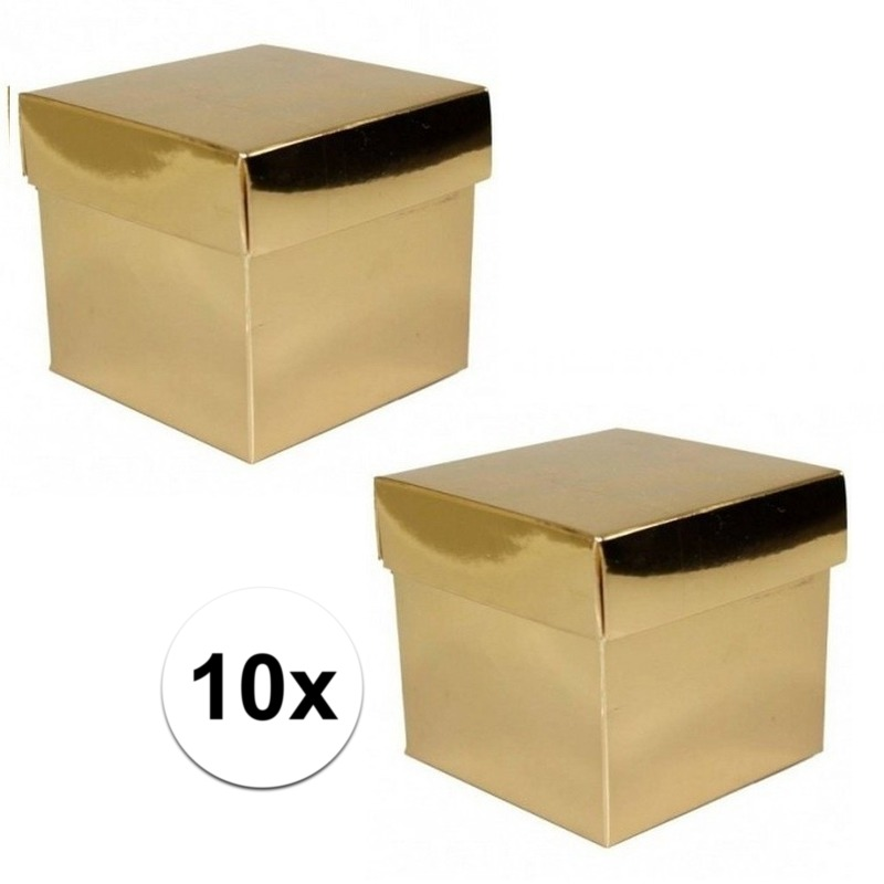 10x stuks Gouden cadeaudoosjes 10 cm vierkant