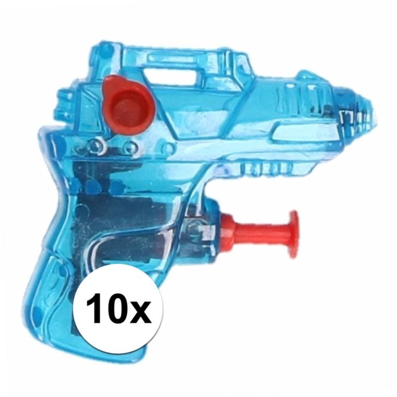 10x stuks mini waterpistolen blauw 7 cm