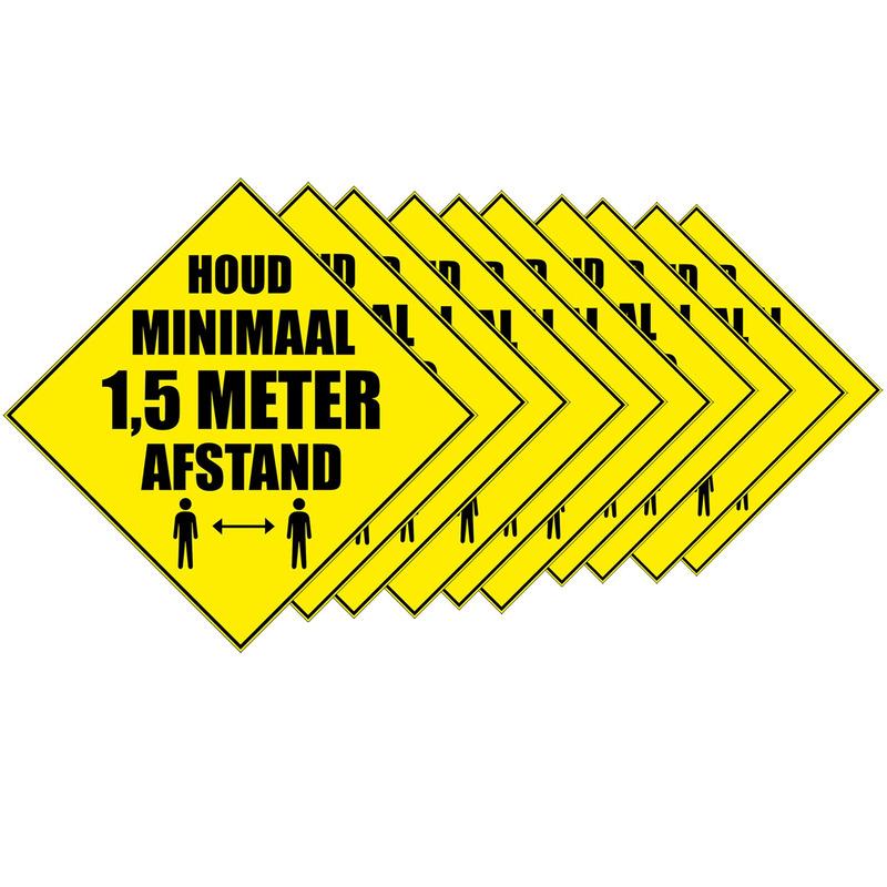 10x Waarschuwingssticker Houd 1,5 meter afstand sticker 10,5 cm