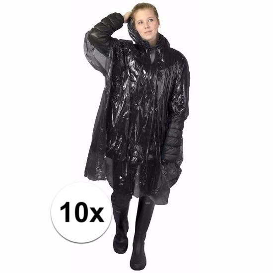 10x zwarte poncho met capuchon voor volwassenen