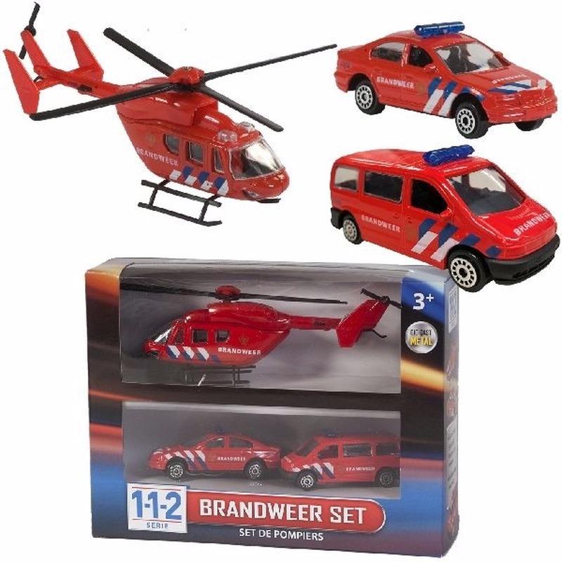 112 Brandweer Speelvoertuigen 3-delig- helikopter 16 cm en autos 7 cm