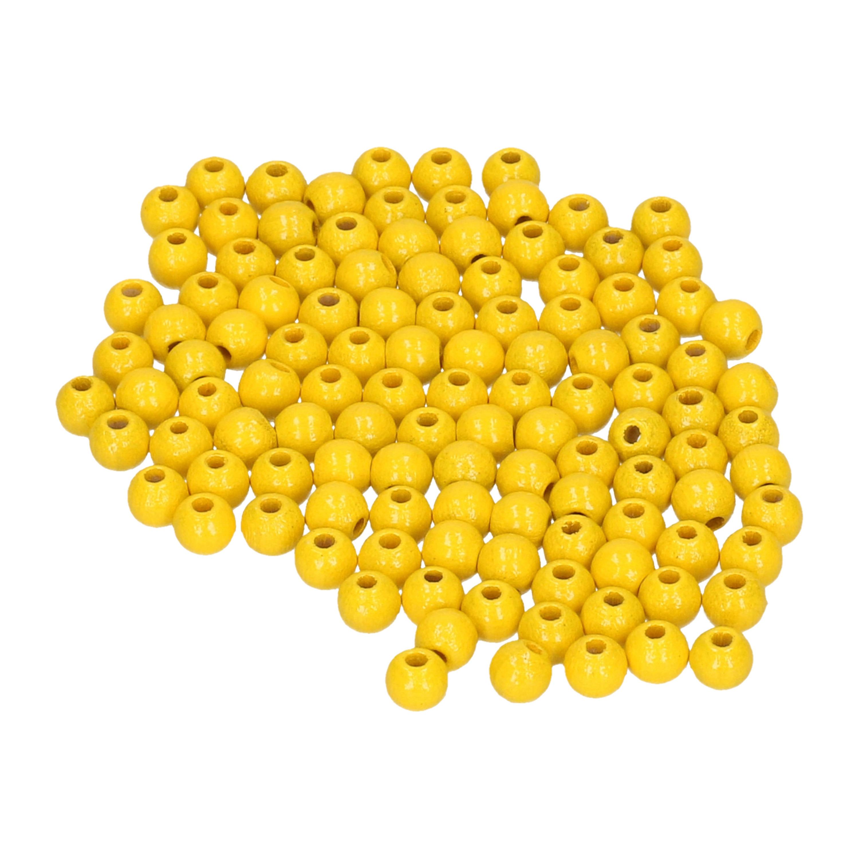 115x stuks gele houten kralen 6 mm