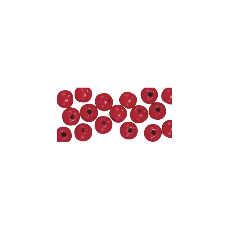 115x stuks rode houten kralen 6 mm