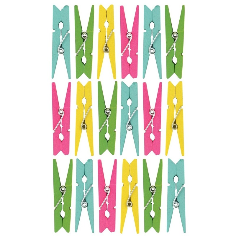 126x Gekleurde mini knijpertjes decoratie materiaal