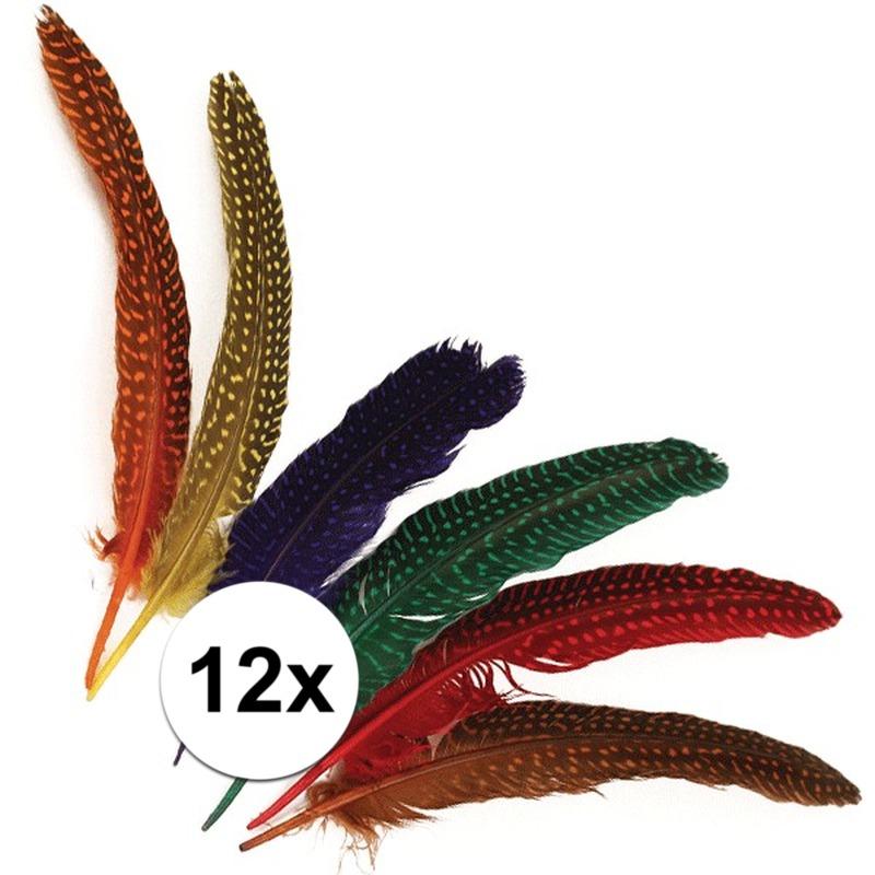 12x Decoratieve veren met stippen