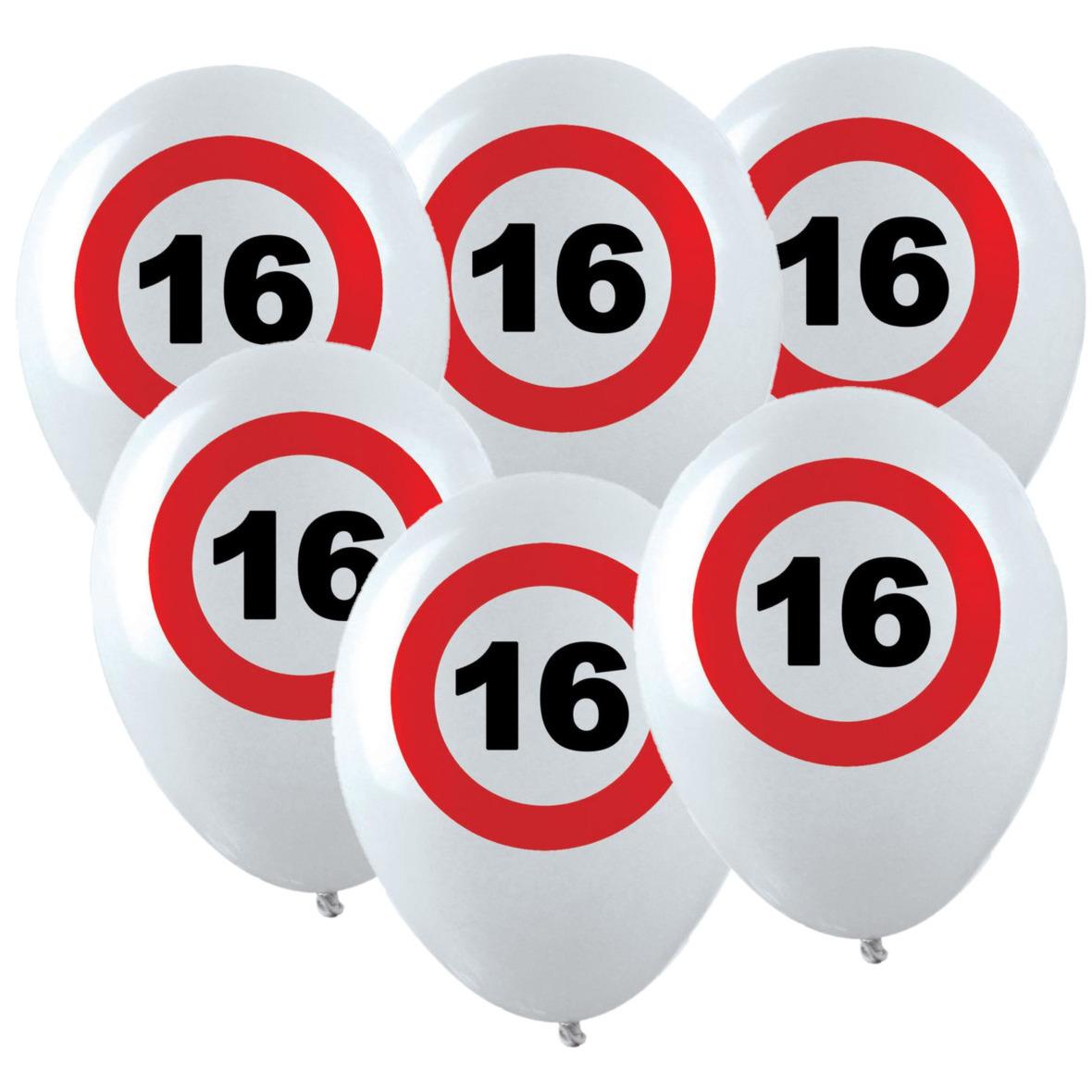 12x Leeftijd verjaardag ballonnen met 16 jaar stopbord opdruk 28 cm