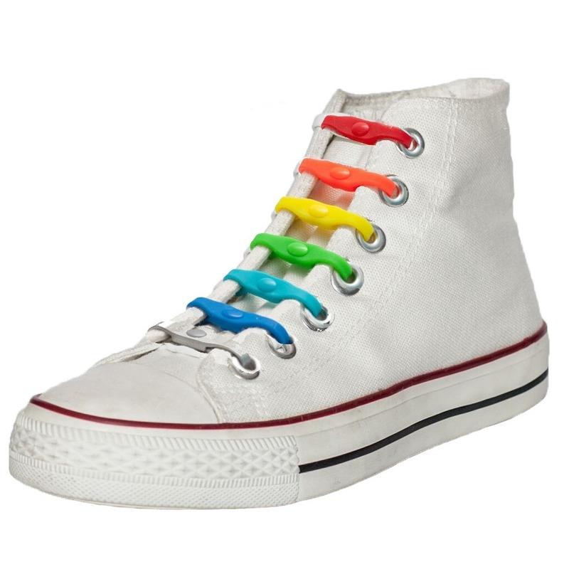 14x Shoeps elastische veters regenboog voor kinderen/volwassenen