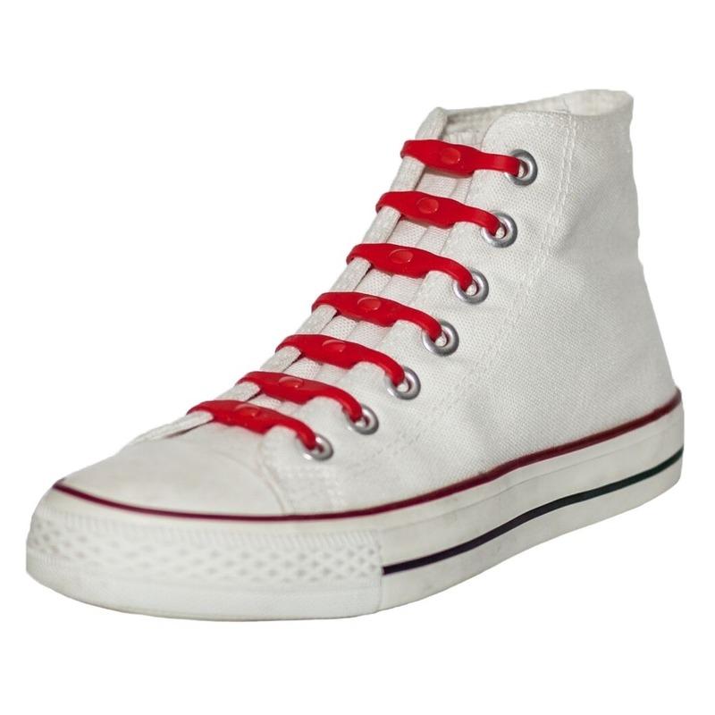 14x Shoeps elastische veters rood voor kinderen/volwassenen