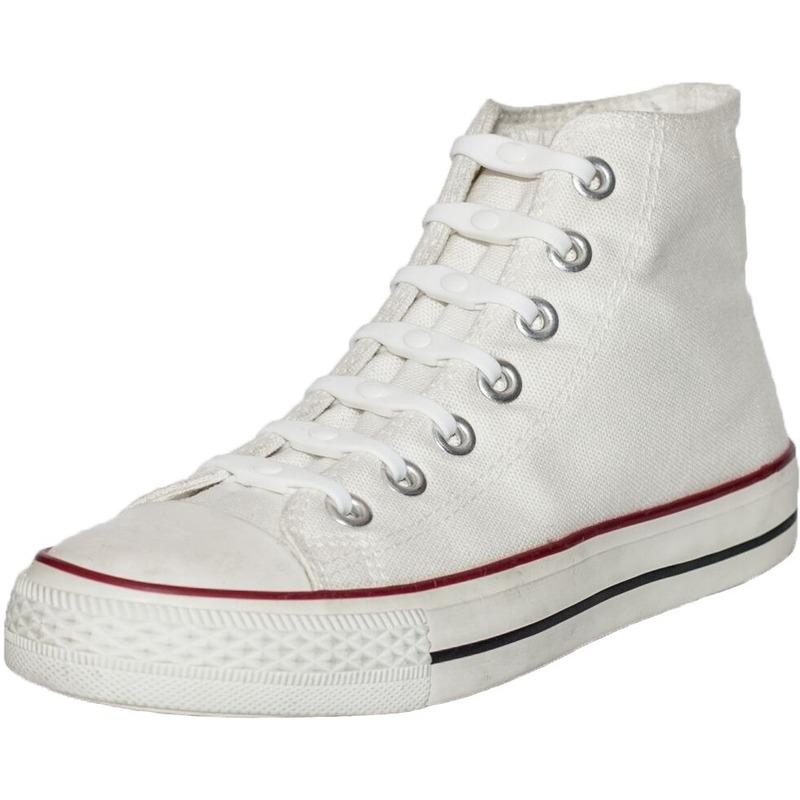 14x stuks Shoeps elastische veters wit voor kinderen/volwassenen