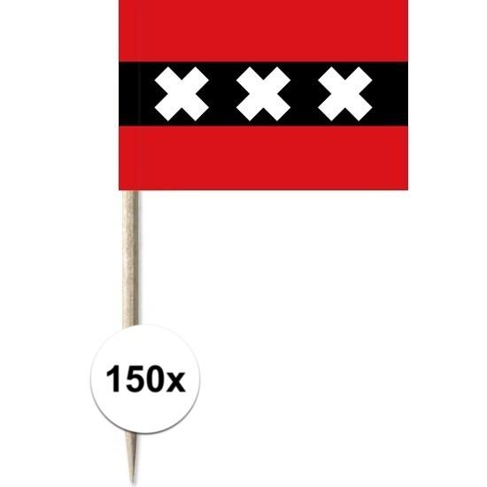 150x Cocktailprikkers Amsterdam 8 cm vlaggetje stad decoratie