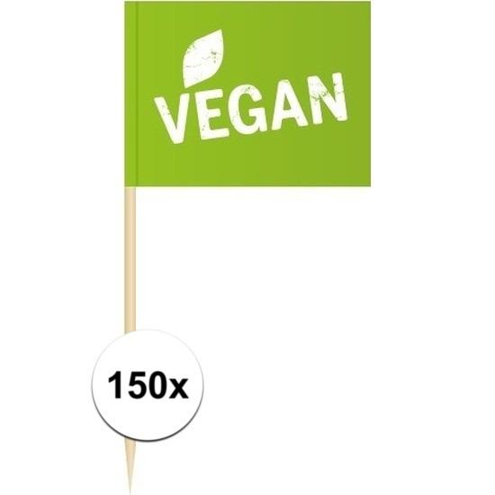 150x Cocktailprikkers Vegan 8 cm vlaggetjes