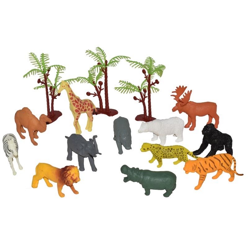 15x Plastic speelgoed wilde mini dieren in emmertje