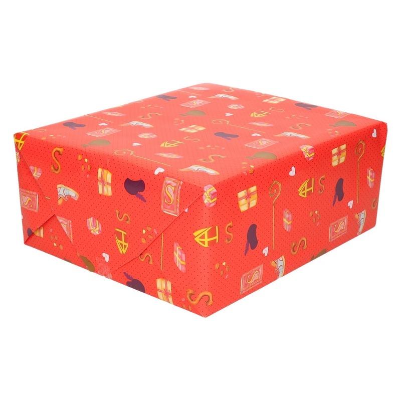 15x Sinterklaas inpakpapier/cadeaupapier print rood 250 x 70 cm