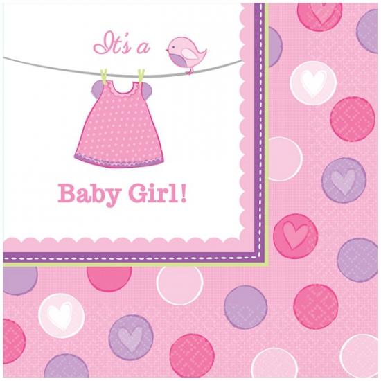 16x Geboorte meisje servetten 33 x 33 cm